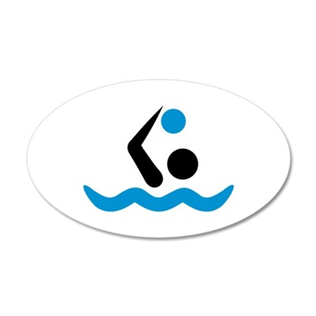 Water polo logo 20x12 Oval Wall Decal
