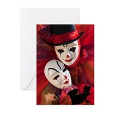 Portrait of Clown with Mask Greeting Cards