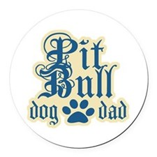 Cute Pitbull dad Round Car Magnet