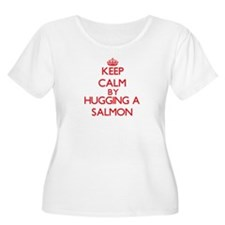 Keep calm by hugging a Salmon Plus Size T-Shirt