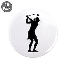 """Golf woman 3.5"""" Button (10 pack)"""