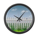 The Garden Fence Large Wall Clock