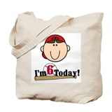 Baseball 6th Birthday(brown) Tote Bag