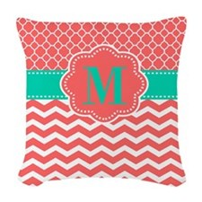 Coral Turquoise Chevron Monogram Woven Throw Pillo
