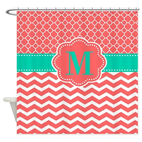 Coral Turquoise Chevron Monogram Shower Curtain By