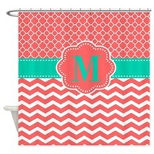 Coral Turquoise Chevron Monogram Shower Curtain