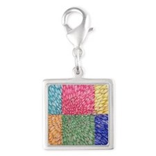 Colorblock Chrysanthemum Silver Square Charm