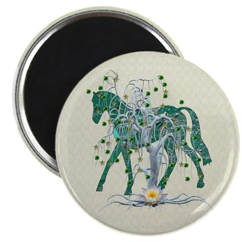 Horse In Winter Forest Magnet