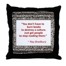 bradbury on books.jpg Throw Pillow