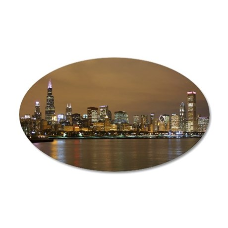 Chicago Skyline 20x12 Oval Wall Decal