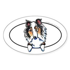Blue Merle Sheltie Peeking Decal