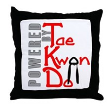 Powered by Tae Kwon Do Throw Pillow