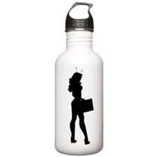 Alien Businesswoman Silhouette Water Bottle