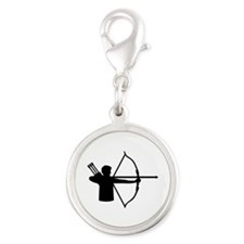 Archery player Silver Round Charm