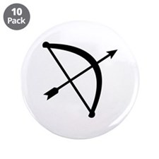"Bow arrow hunter 3.5"" Button (10 pack)"