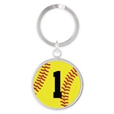 Softball Sports Player Number 1 Keychains