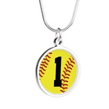 Softball Sports Player Number 1 Necklaces
