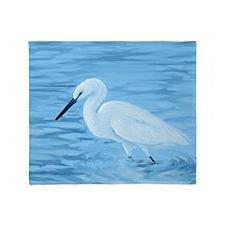 Great White Egret Throw Blanket