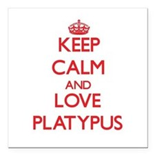 "Keep calm and love Platypus Square Car Magnet 3"" x"