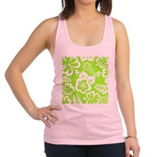 Lime Green Tropical Flowers Racerback Tank Top