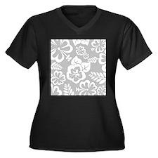 Grey tropical flowers Plus Size T-Shirt