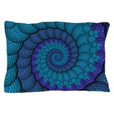 Blue Peacock Fractal Pattern Pillow Case