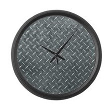 Gray Diamond Plate Pattern Large Wall Clock