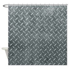 Gray Diamond Plate Pattern Shower Curtain