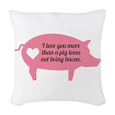 Pig Bacon Woven Throw Pillow