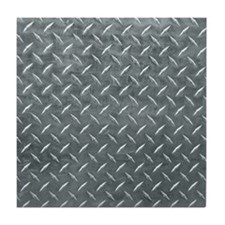 Gray Diamond Plate Pattern Tile Coaster