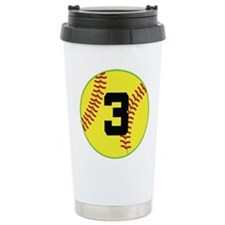 Softball Sports Player Number 3 Travel Mug