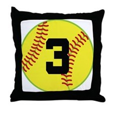 Softball Sports Player Number 3 Throw Pillow