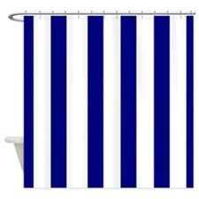 navy blue stripes Shower Curtain