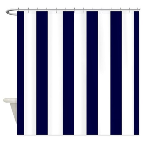 Navy Blue Stripes 3 Shower Curtain By Laughoutlouddesigns1
