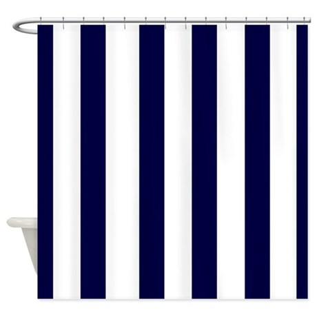 Navy blue stripes 3 shower curtain by laughoutlouddesigns1 for Blue and white striped bathroom accessories