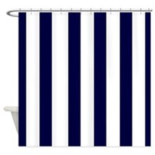 navy blue stripes 3 Shower Curtain
