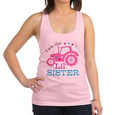 Pink Tractor Little Sister Racerback Tank Top