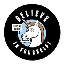 I Believe In Me Round Car Magnet