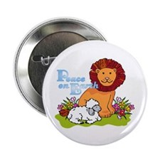 "Lion & Lamb Peace On Earth 2.25"" Button (10 pack)"