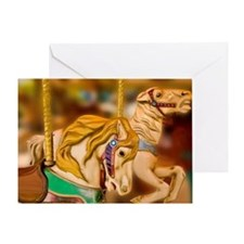 Carnival rides horses Greeting Card