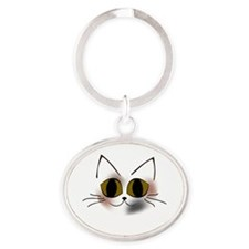 Calico Kitty Oval Keychain