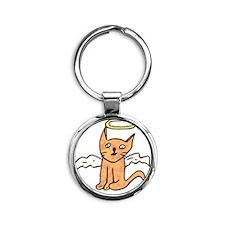 Angel Cat Round Keychain