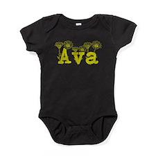 Yellow Ava Name Baby Bodysuit