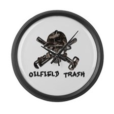 Riveted Metal Oilfield Trash Skull Large Wall Cloc
