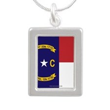 North Carolina Flag, NC State Flag Silver Portrait