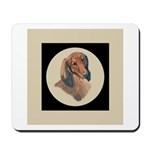 Longhaired Dachshund head stu Mousepad