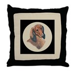 Longhaired Dachshund head stu Throw Pillow