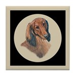 Longhaired Dachshund head stu Tile Coaster