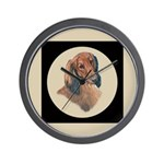 Longhaired Dachshund head stu Wall Clock