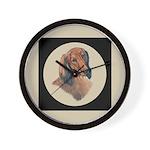 Longhaired Dachshund head stu Wall Clock
